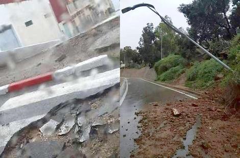 بالصور.. أضرار وخسائر مادية في البنية التحتية بسبب الأمطار الغزيرة بالحسيمة
